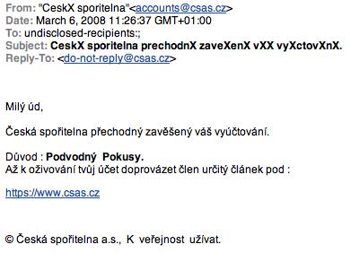 Phishing CS - ukazka emailu