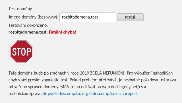 Výsledek testu domény, která přestane po 1. únoru 2019 fungovat.